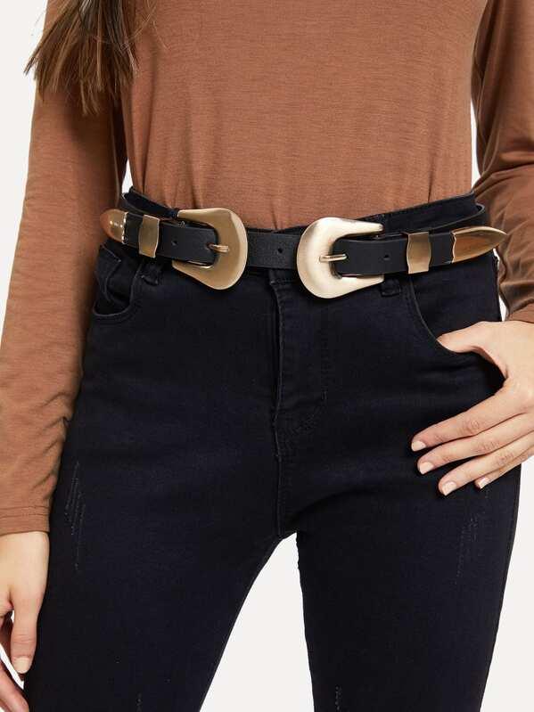 22a82534b968b Double Buckle Belt | SHEIN