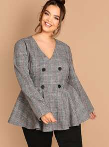 Plus Double Breasted Plaid Pullover Peplum Coat