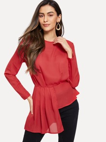 Asymmetrical Hem Pleated Peplum Top
