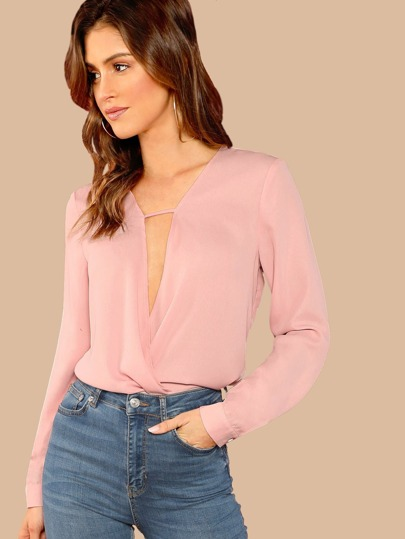 Plunge Neck Surplice Draped Top
