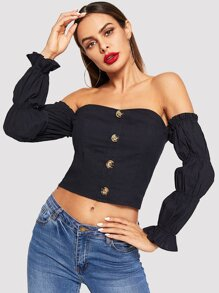 Off Shoulder Button Front Crop Top