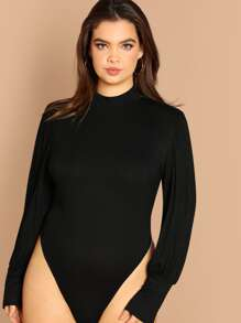 Plus High Neck Slim Fitted Bodysuit