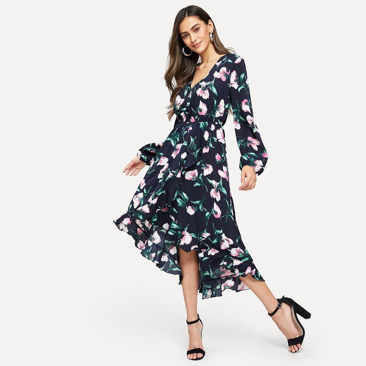 Floral Print Ruffle Hem Surplice Dress