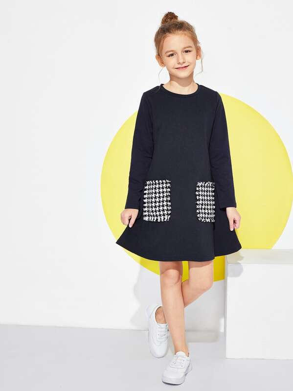 3009020dad948 SHEIN Girls Houndstooth Pocket Patched Dress, Sizes 120-160 (approx. 5/6yrs  – 11/12yrs) just $4.90 + FREE Shipping!