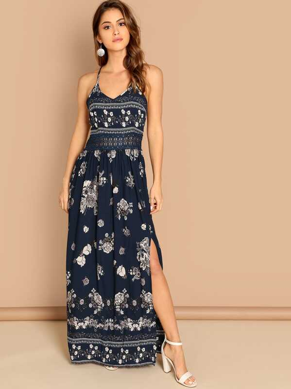 144173bc Guipure Lace Insert Split Floral Maxi Cami Dress   SHEIN UK