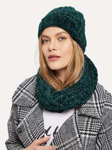 Chenille Solid Hat & Infinity Scarf 2pcs