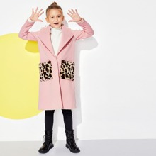 Girls Single Button Leopard Pocket Coat