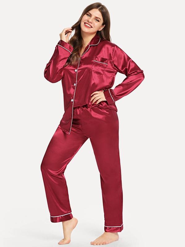c283663f2a Plus Contrast Binding Satin Pajama Set