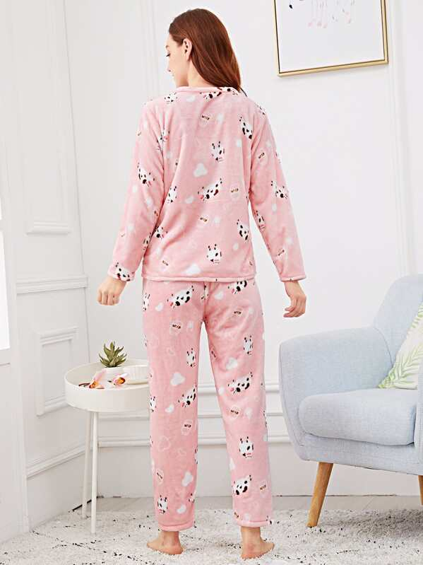 92c8ac5da0 Sheep Print Pocket Front Plush Pajama Set | SHEIN IN