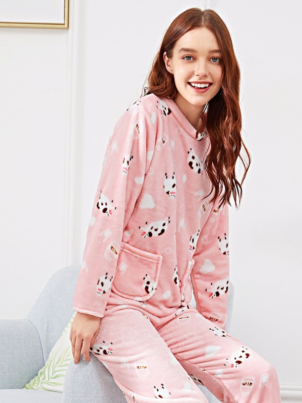 899fee6d10 Sheep Print Pocket Front Plush Pajama Set | SHEIN