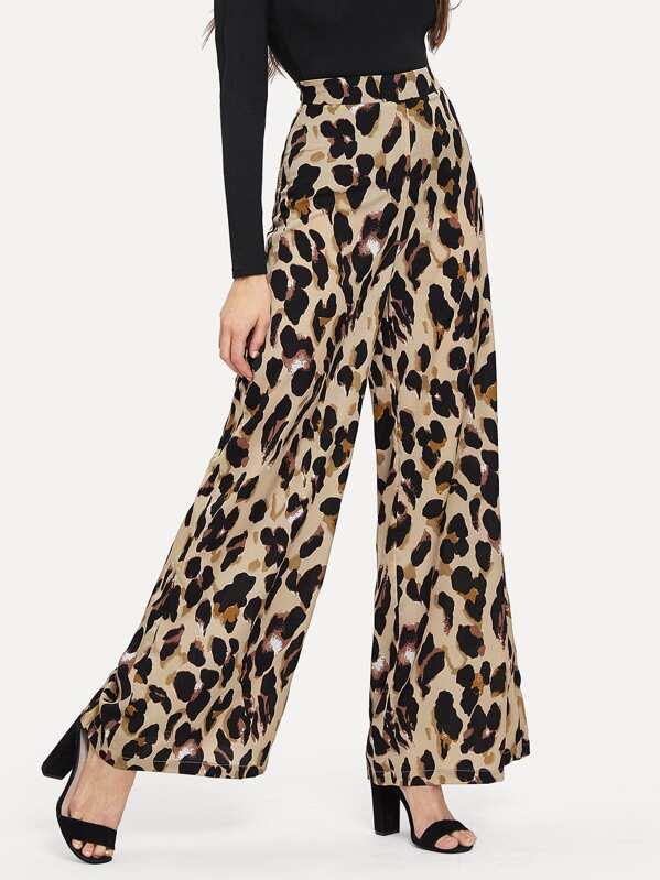 8d97b3c8da00 Leopard Print Wide Leg Trousers | SHEIN UK