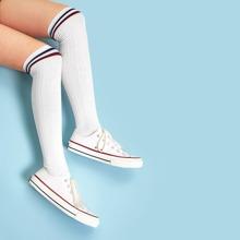 SHEIN   Striped Hem Over The Knee Socks   Goxip