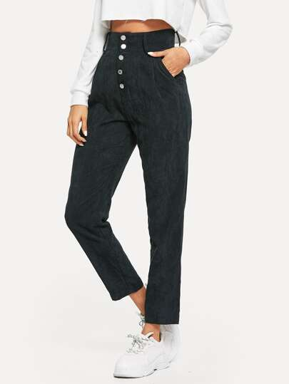High Waist Button Fly Corduroy Tapered Pants
