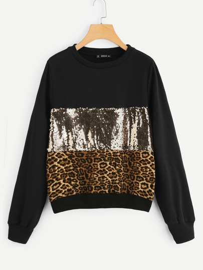 Contrast Sequin Color Block Leopard Pullover