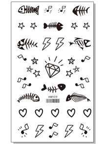 Mixed Pattern Tattoo Stickers One Sheet
