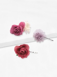 Flower Decorated Hair Clip 3pack