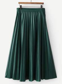 Pleated Solid PU Skirt