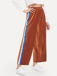 Striped Panel Corduroy Pants