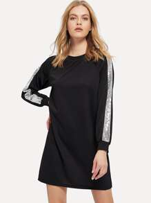 Contrast Sequin Sweatshirt Dress