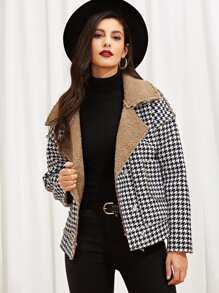 Single Breasted Houndstooth Print Jacket