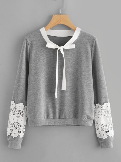 Plus Tie Neck Lace Panel Sweatshirt