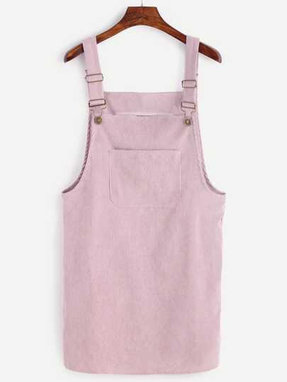 Plus Plain Corduroy Pinafore Dress