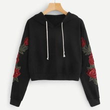 Image of Floral Embroidered Applique Hoodie