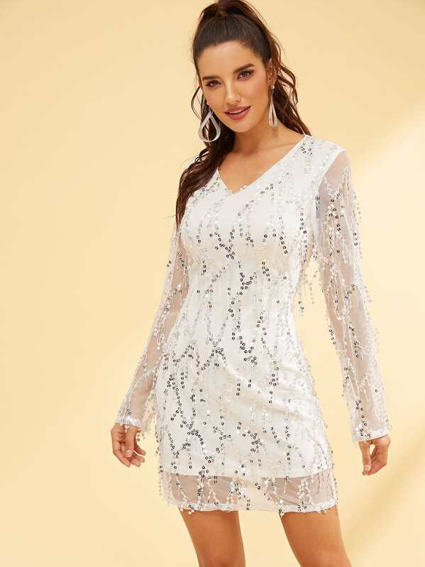 d17df77f7a Long Sleeve V-Neck Sequins Dress   SHEIN UK