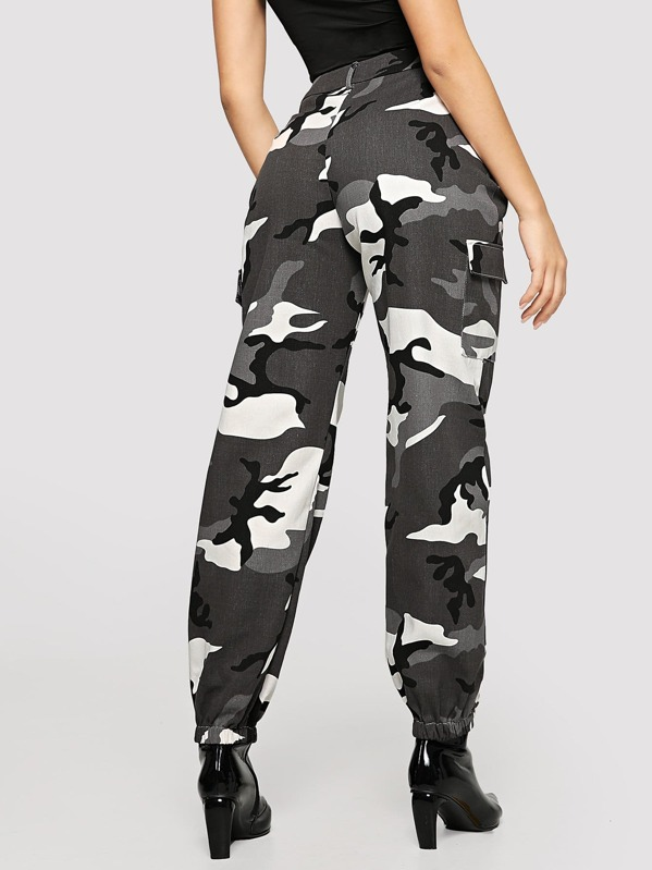 ca8fd347ac Flap Pocket Side Camo Utility Pants | SHEIN