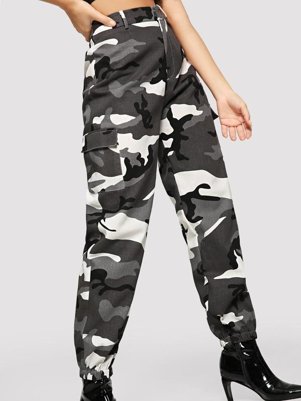 04af628b15048 Flap Pocket Side Camo Utility Pants | SHEIN