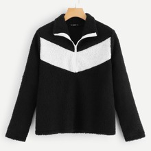 Two-Tone Half Placket Pullover