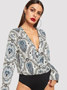 Allover Print V-Neck Bodysuit
