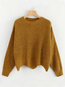 Plus Scallop Hem Solid Jumper