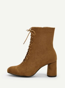 Plain Lace-up Side Zipper Chunky Boots