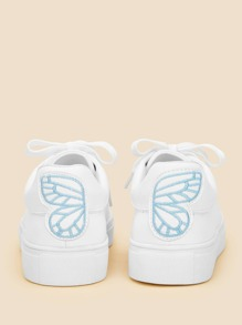 Butterfly Embroidery Lace-up Sneakers