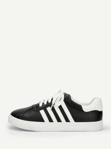 Striped Detail Lace-up Sneakers