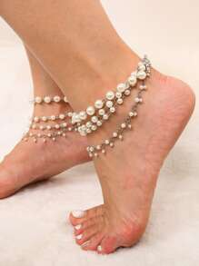 Faux Pearl Layered Chain Anklet
