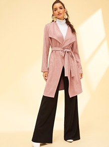 Drape Collar Suded Coat With Belt