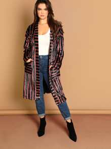 Plus Pocket Front Striped Velvet Coat With Belt