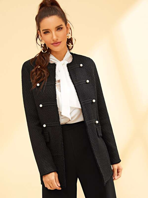 693235a0 Cheap Frayed Trim Pearl Embellished Coat for sale Australia | SHEIN