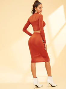 84674a2eae Twist Front Crop Top and Bodycon Skirt Set | SHEIN UK