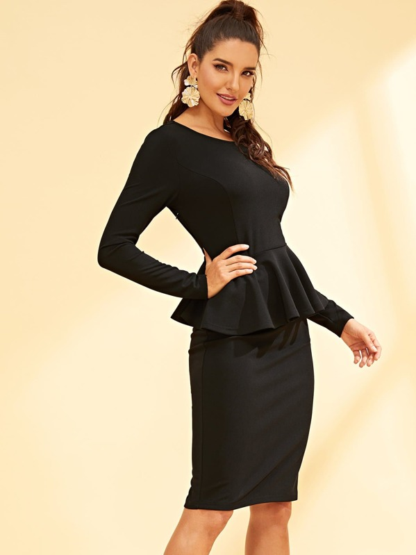 bf4067d977ef88 Solid Peplum Top and Pencil Skirt Set