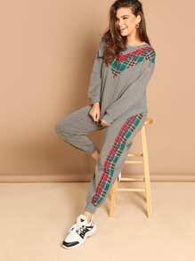 Plus Drop Shoulder Plaid Panel Pullover and Sweatpants Set