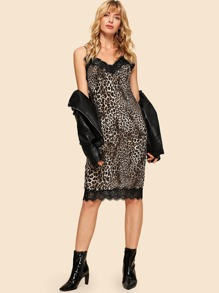 80s Lace Applique Leopard Cami Dress