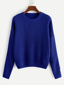 Plus Drop Shoulder Waffle Knit Jumper