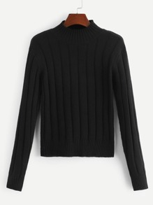 Plus Stand Collar Rib Knit Jumper