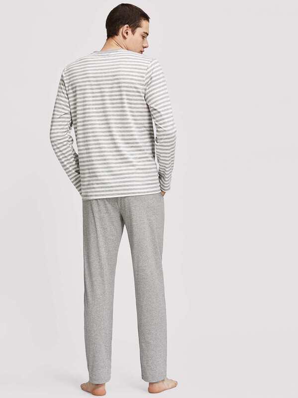 1e99b56809 Men Striped Long Sleeve Top & Pants Pajama Set   SHEIN