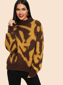 Roll Neck Two Tone Jumper