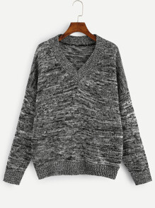 Plus V Neck Marled Knit Sweater