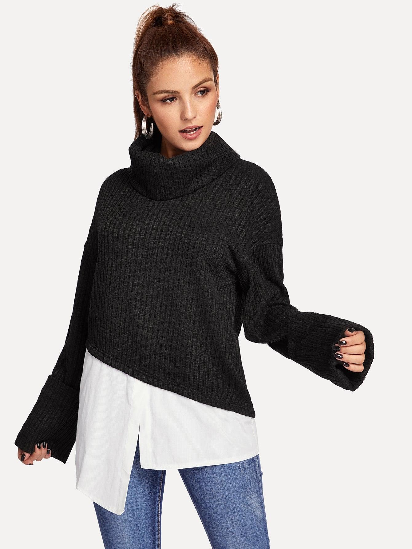 2 в 1 пуловер с асимметричным низом и с высоким вырезом thumbnail